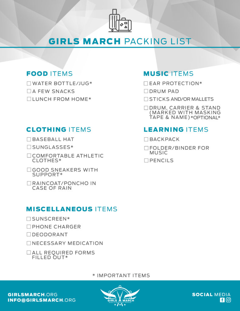 What To Pack Girls March
